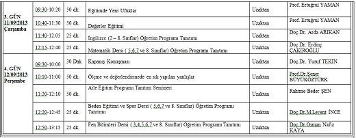 2013 Eylul Ayi Mesleki Calisma Programi Belli Oldu